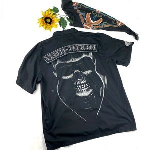 Harley Davidson Embroidered SpellOut Smoking Skull